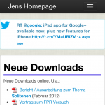 Jens Homepage - Blog auf iPhone